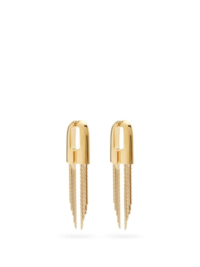 Graphic chain-tassel earrings