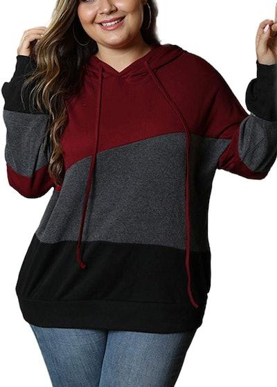 Eytino Color-Block Striped Hooded Sweatshirt
