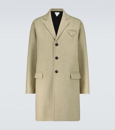 Wool-blend single-breasted coat