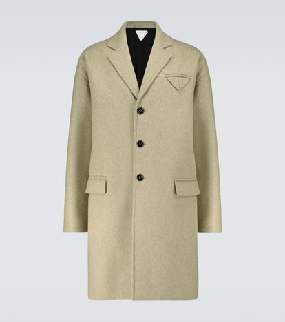 Wool-blend single-breasted coat