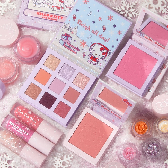 The ColourPop x Hello Kitty collection featuring an eyeshadow palette, blush, and lip gloss