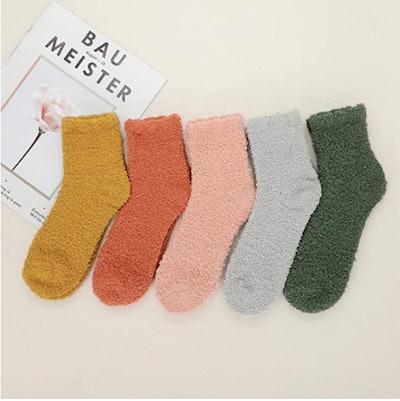 Zando Plush Slipper Socks (5-Pack)