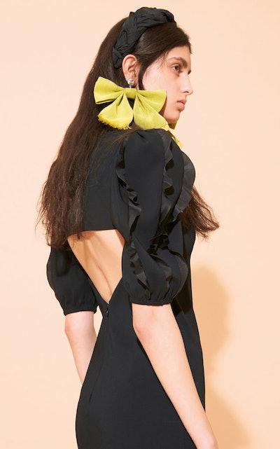 Ruffle-Sleeve Crepe Mini Dress