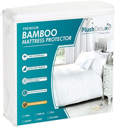 PlushDeluxe Premium Bamboo Mattress Protector, Queen