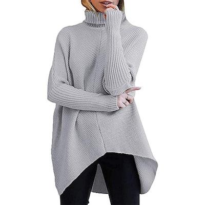 ANRABESS Turtleneck Batwing Asymmetric Sweater