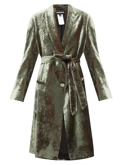 Longline velvet robe coat