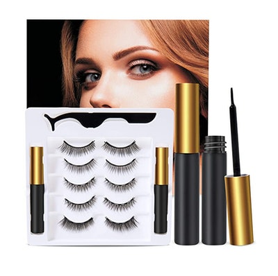 HSBCC Reusable 5D Magnetic Lashes and Eyeliner Kit (5-Pair)