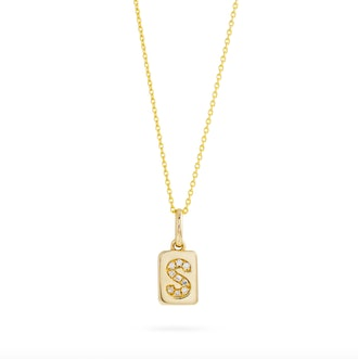 Spell It Out Diamond Initial Dog Tag Necklace