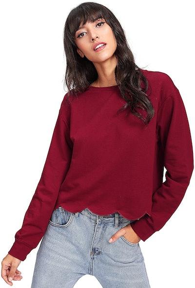 Romwe Women's Scalloped Hem Crop Sweatshirt