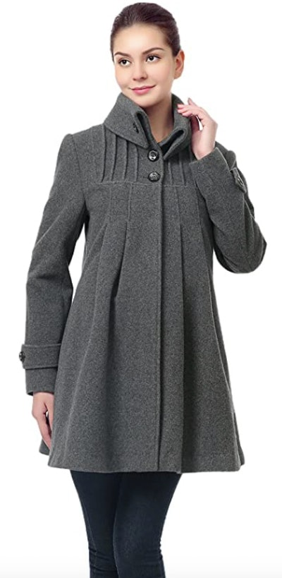 Momo Maternity Jessie Wool Pleated Swing Coat