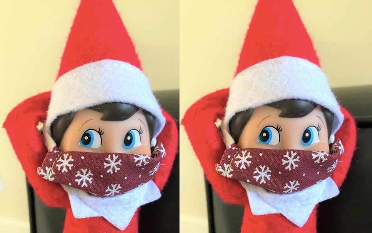 Elf on the Shelf is wearing a snowflake mask due to the coronavirus pandemic.