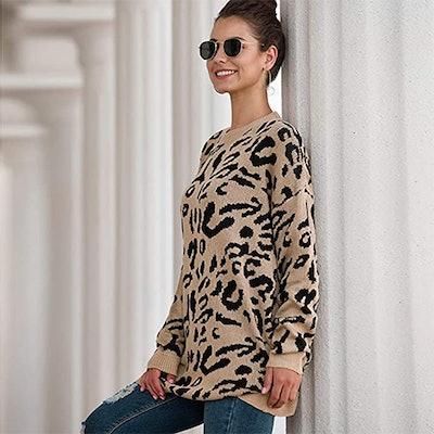 NSQTBA Leopard Print Oversized Crew Neck Sweater