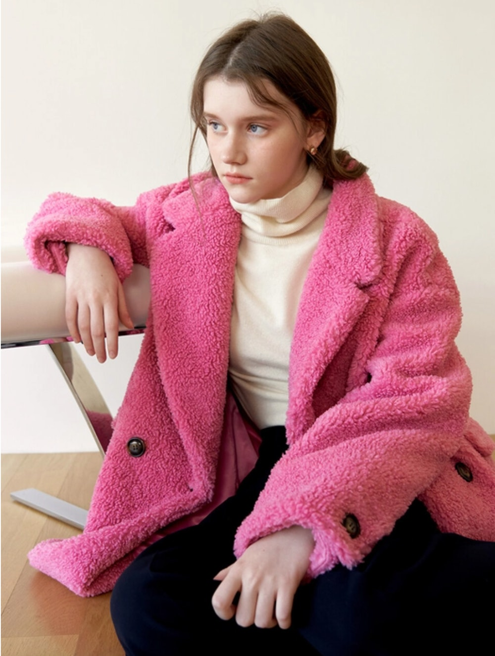Teddy Over Coat Pink