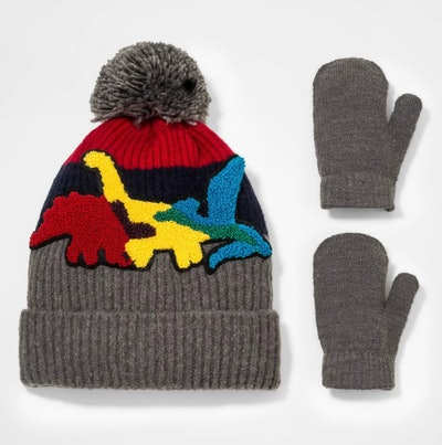 Cat & Jack Dino Knit Beanie with Magic Mittens