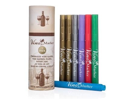 Vino Marker Metallic Wine Glass Pens (7-Pack)