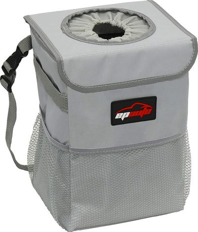 EPAuto Waterproof Car Trash Can with Lid and Storage Pockets