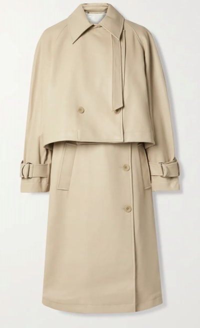 Convertible vegan leather trench coat