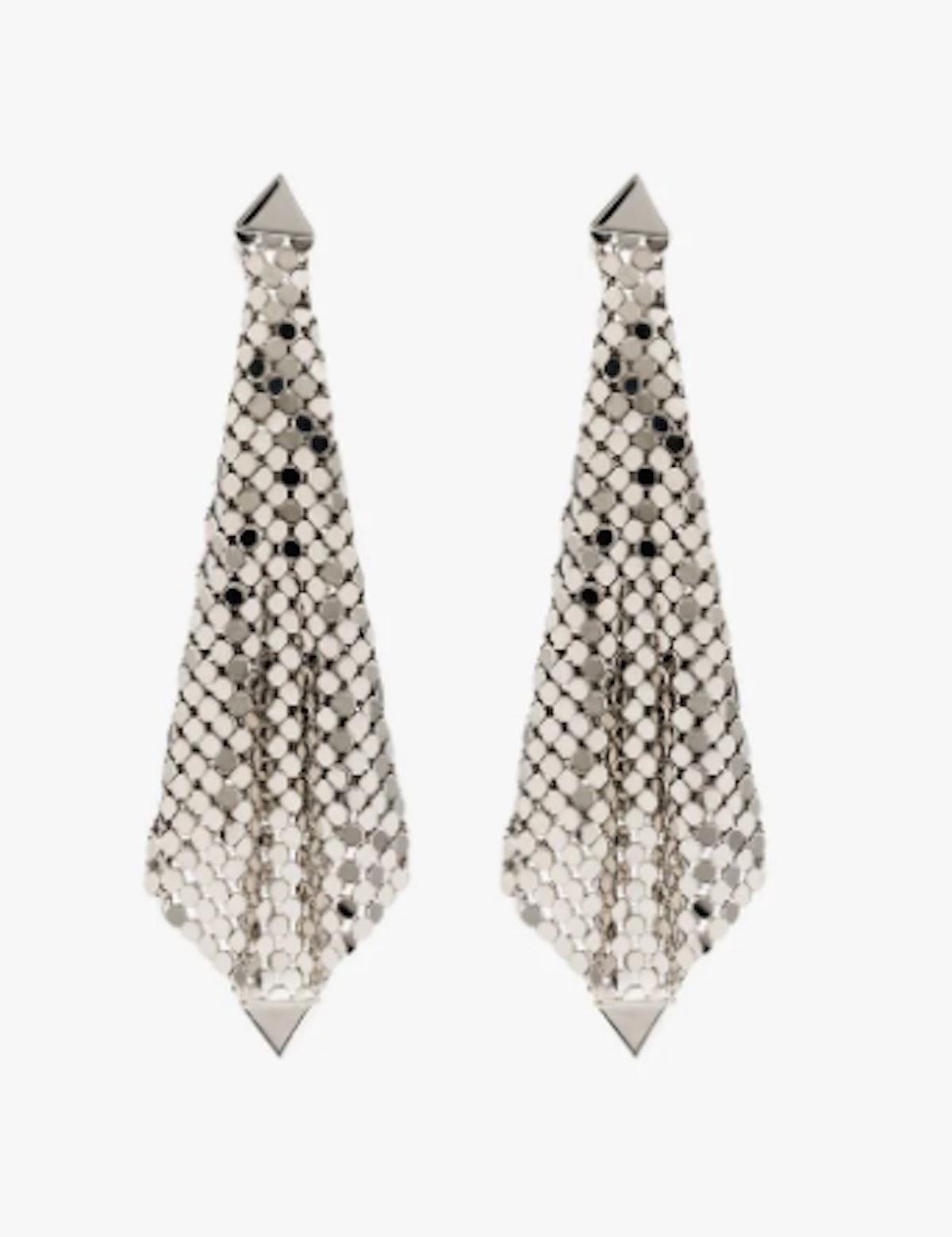 Silver Tone Chain Mesh Drape Earrings