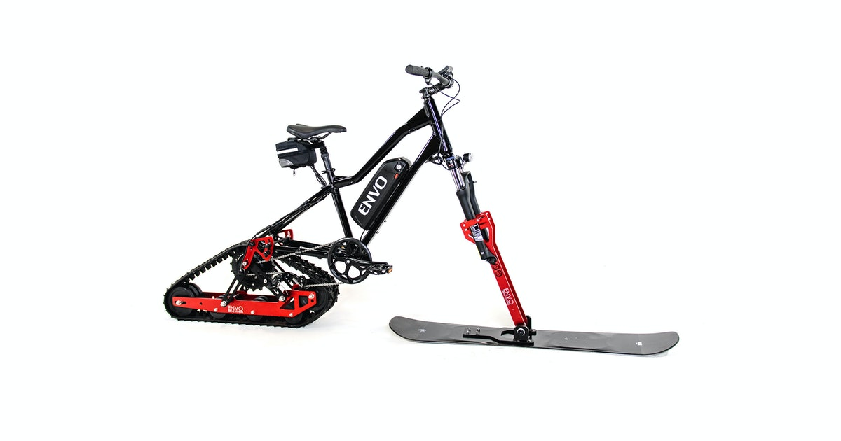 Turn your mountain bike into a pedal-assisted snowmobile with this conversion kit