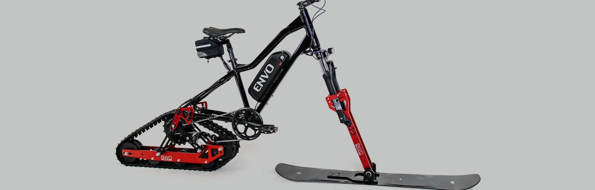 Envo's conversion kit turns a regular mountain bike into an electric snowbike.