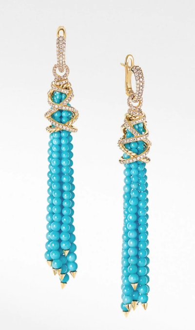Helena Tassel Earrings with Turquoise, Diamonds and 18K Yellow Gold