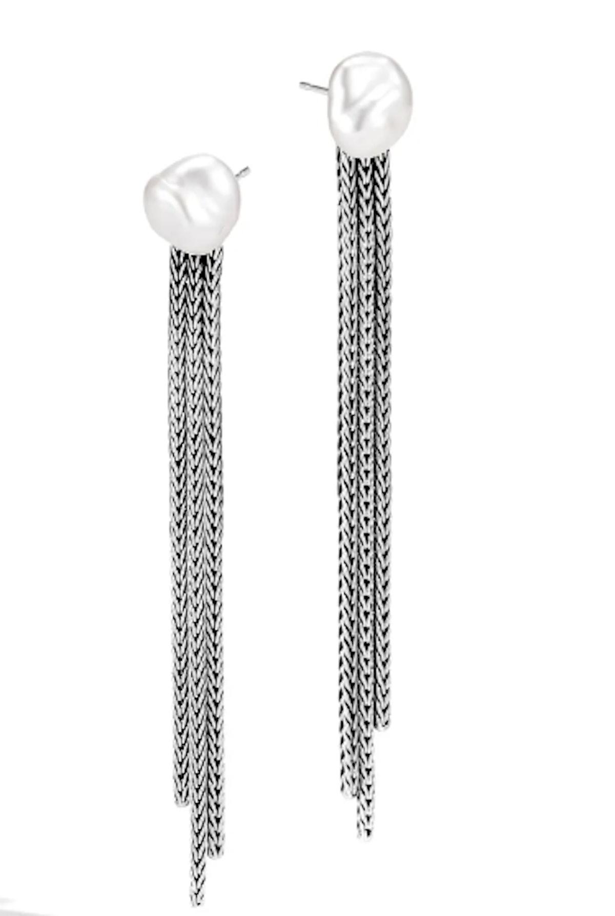 Classic Chain Fresh Water Pearl & Silver Drop Earrings