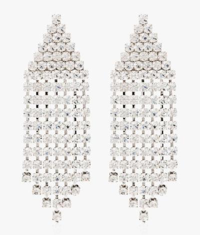 Silver Tone Triangle Cascade Crystal Earrings