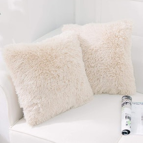 NordECO Faux Fur Throw Pillow Covers (2-Pack)