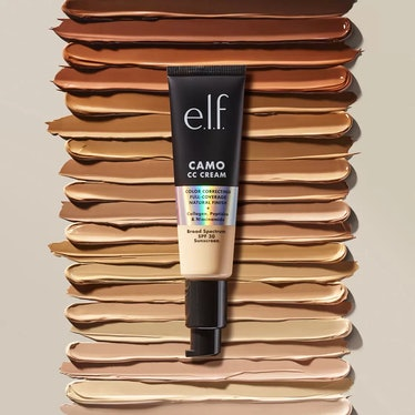 e.l.f. Cosmetic's Camo CC Cream on top of swatches of all of its 20 shades.