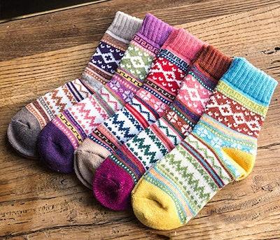 Loritta Vintage Style Winter Socks (5 Pairs)