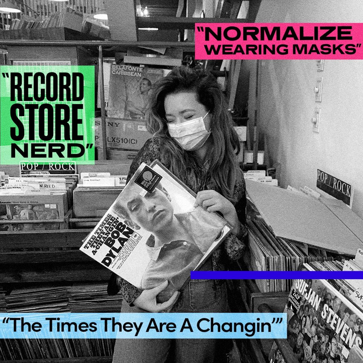 Jade Pettyjohn in a record shop