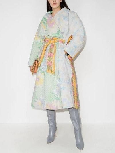 Maggan Floral-Print Belted Coat