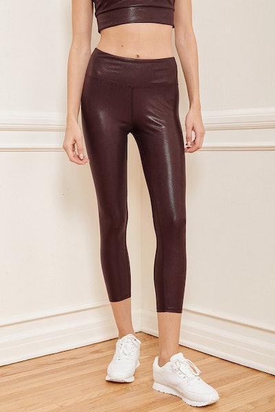 Step Up Burgundy Metallic Medium Impact High Waisted Leggings