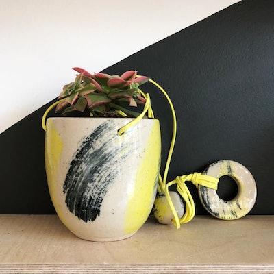Medium Hanging Stoneware Planter Yellow And Black