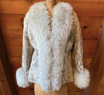 Vintage 70s Gray Sheepskin Shearling Penny Lane Jacket