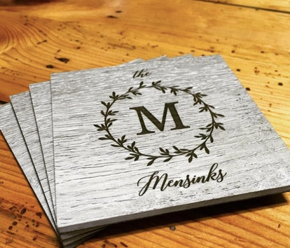 Personalized Coaster Set of 4, custom coaster, wedding gift, housewarming, engraved coaster, restaurant supply, anniversary gift, home decor