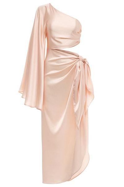 Champagne Half Sleeve Tie Dress
