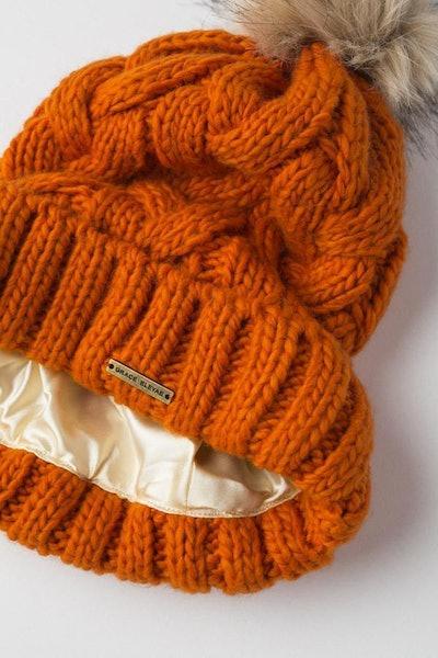 Orange Foldover Warm Slap w/ Pom