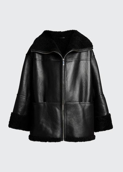 Menfi Shearling Oversized Leather Jacket