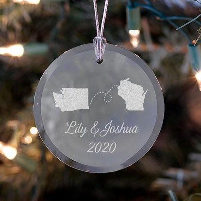 Personalized Long-Distance Relationship Ornament