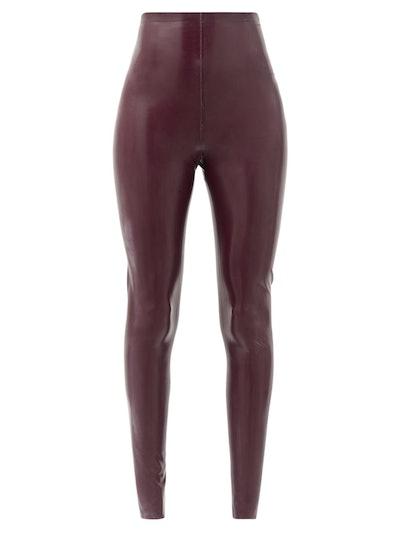 High-rise latex leggings