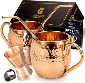 GoodyGoods Copper Moscow Mule Mugs (Set of 2)
