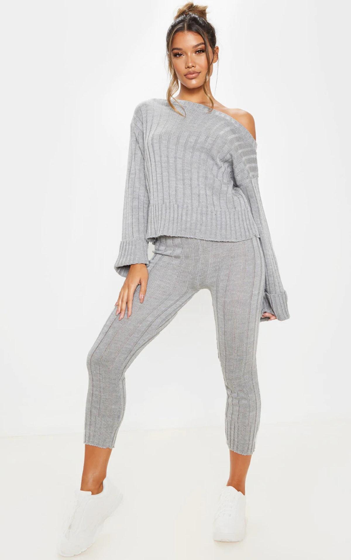 PrettyLittleThing Grey Bardot Jumper And Legging Lounge Set