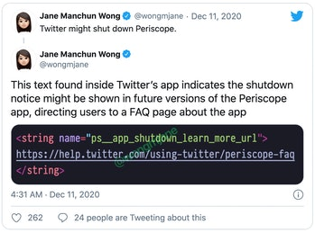 Periscope coding Twitter