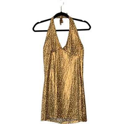 Gold Sparkle Leopard-Print Halter Dress