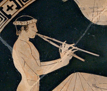 Youth playing the aulos, detail of a banquet scene.
