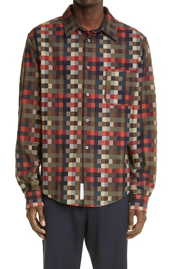4S Designs Check Button-Up Shirt Jacket