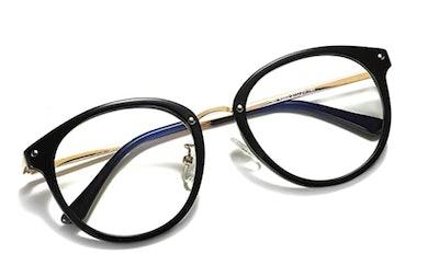 SOJOS Retro Big Round Blue Light Computer Glasses