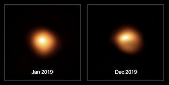 comparison of betelgeuse before and after dimming in 2019
