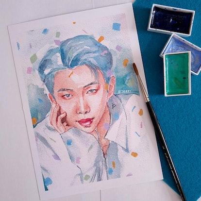 BTS Dynamite RM Watercolor Art Print/Poster